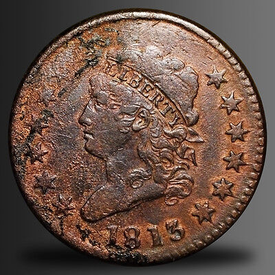 1813 Classic Head Large Cent, S-293 R-2, Higher Grade! Vf-Xf Details!