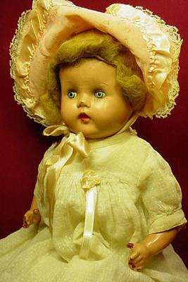 DARLING ANTIQUE 1920s COMPOSITION DOLL WITH TIN EYES MOHAIR WIG SWISS DOT DRESS