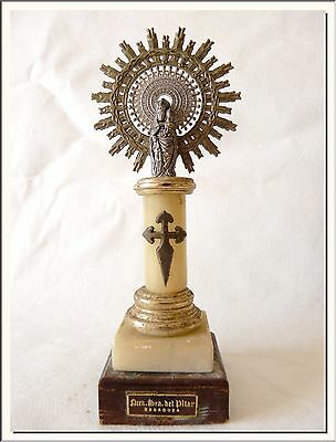 VINTAGE 1950's OUR LADY of THE PILLAR ZARAGOZA SPANISH SHRINE ALTAR ! SEE MORE !