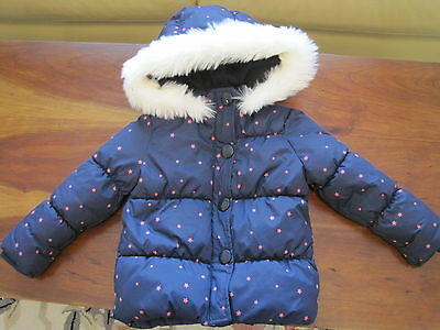 Gymboree Girls Navy Pink Star Hooded Lined Puffer Coat Jacket 2T-3T EUC Warm