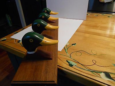 vintage hand carved and painted duck head wood wall coat hat rifle rack hanging