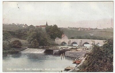 PPC: The Medway with Weir at East Farleigh,
