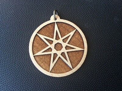 "septagram Pentagram Faerie Star 1.75"" Pendant Necklace Carved Maple Wood #Gift"