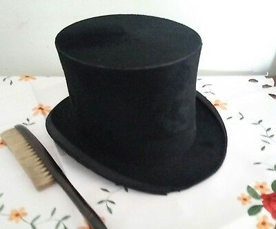 Vintage Dunn & Co Hat Makers.Top Hat & Brush. Display ? Prop Theatre ? Steampunk