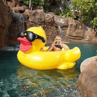Giant Rubber Duck Pool Float Yellow LILO Inflatable Raft adult Dinghy & paddle