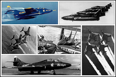 6 Photo Collage Showcasing Blue Angels F9F Cougar 1955-1957 8x12 Photo