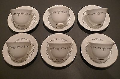 Royal Worcester Silver Chantilly 6 Tea Cups & Saucers - 12 items - VGC