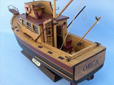 "Jaws Orca 20"" Decorative Famous Ship Wooden Hand Built Boat Model from Movie New"
