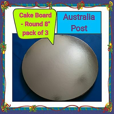 """Cake Board 8"""" round - Silver standard - pack of 3"""