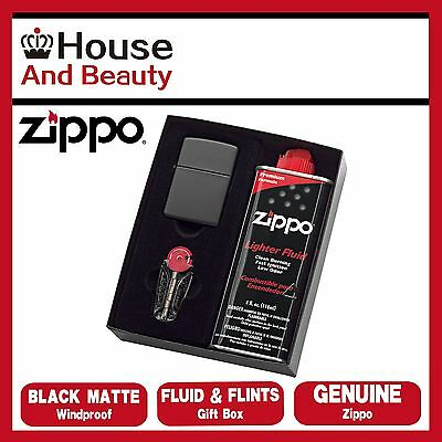NEW Zippo 218 Black Matte Lighter with 118ml Fluids & Flints Gift Boxed Genuine