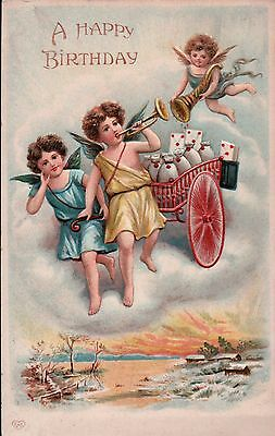 1910 EAS Cherubs / Angels Above Village with Cart Vintage Postcard #3