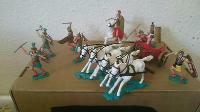 Timpo repaired Roman chariot + 6 soldiers centurions + one mounted 1970s