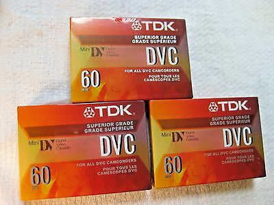 Pack of 3 TDK DVC60 Video Cassettes For all DVC Camcorders - New