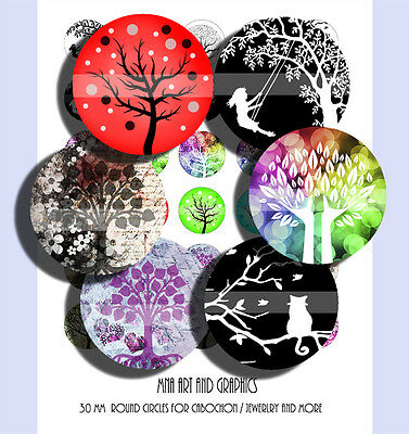 Tree of life - Magic tree 30 mm cabochon images, Tree silhouette 30 mm images