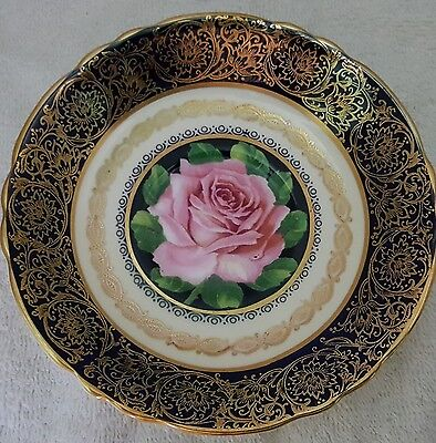 Paragon Big Pink Rose With Cobalt And Gold Saucer Only No Cup