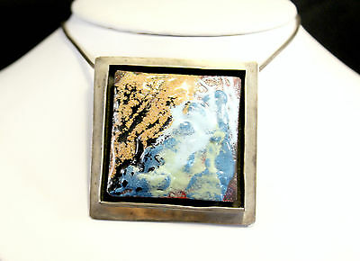 Mid Century Copper Enamel On Sterling Silver 925 Pendant Brooch / Necklace 22 ""