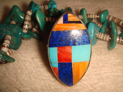 """Vtg. Zuni 1 1/2"""" Sterling Silver Inlay Turquoise Lapis Spiney Oyster Ring 9.5 Fy"""