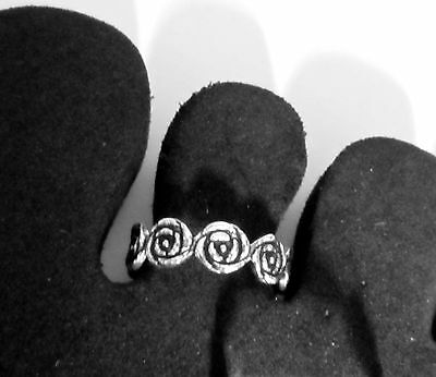 New Sterling Silver 925 Toe Ring Adjustable Solid Band Flower Women Girl Midi