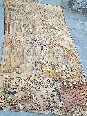 antique 93 X 53 WOVEN TAPESTRY WALL HANGING knights horse castle shabby chic dog
