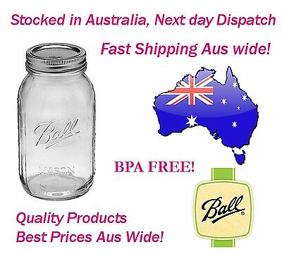 Ball Mason Quart (1 Litre) Regular Mouth Jars and Lids Canning Preserving 6pk