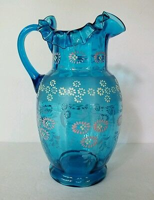 Antique Bohemian Moser Art Glass Blue Pitcher W' Victorian Enameled Flowers, EUC