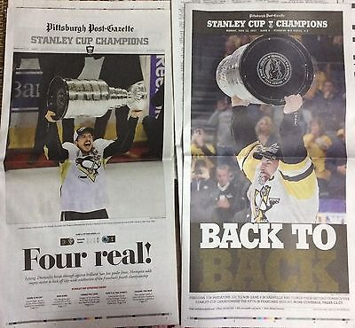 2016 & 2017 Pittsburgh Penguins Stanley Cup champions newspapers Post-Gazette NM