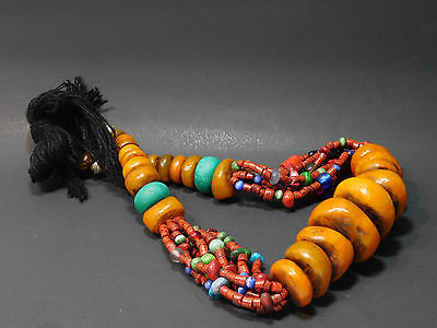 Large African Berber Resin  Trade Beads Ethnic Necklace From Morocco
