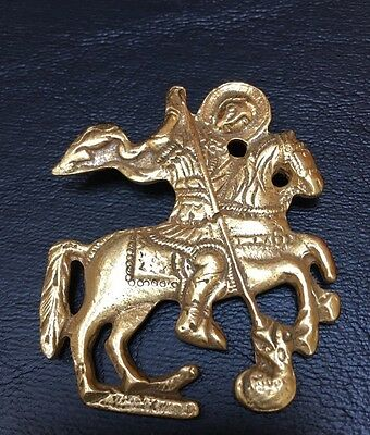Brooch/Pin Warrior Horse battle Marked Alva Museum Replica Gold Tone