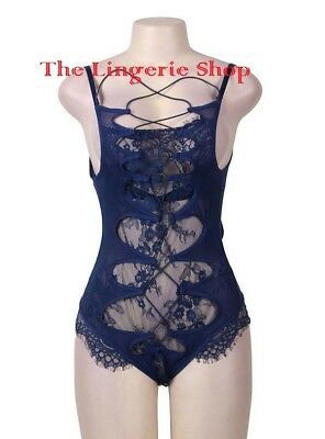 Plus Size Sheer Dark Blue Teddy Floral Lace Trim Lace-up Back & Front 14-16 A-DD