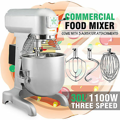 1.5 HP 30L Commercial Food Dough Mixer 1100W Bakery With 3 Different attachments