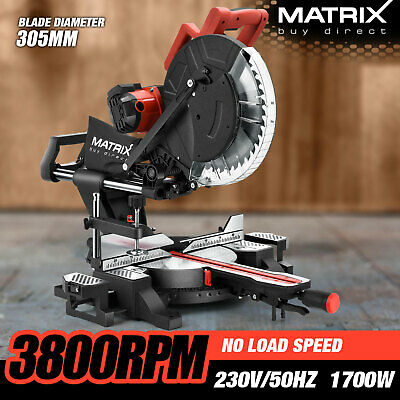 "New Matrix 305MM 12"" Sliding Compound Mitre Saw Belt Driven Drop Saw Cut Off Saw"