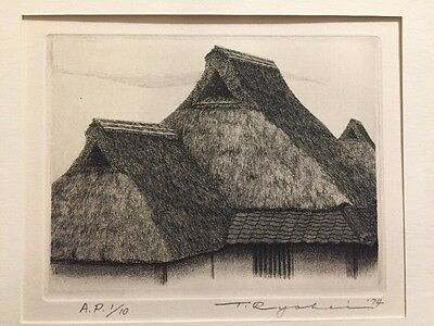 TANAKA RYOHEI - Thatched Roof #23 1974 A.P. 1/10 Org.Signed & Numbered Etching !