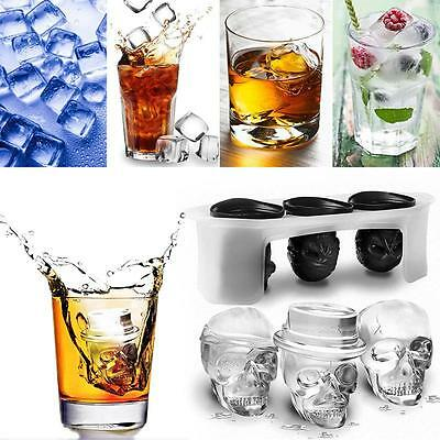 3Pcs Skull Silicone Ice Cube Tray Ice Molds Home Bar Supply Set Cool Gadget