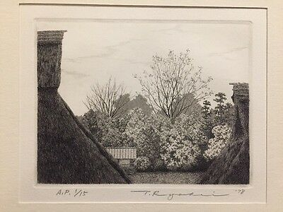 TANAKA RYOHEI - Ohimitaga Village 1978 A.P. 1/15 Org.Signed & Numbered Etching !