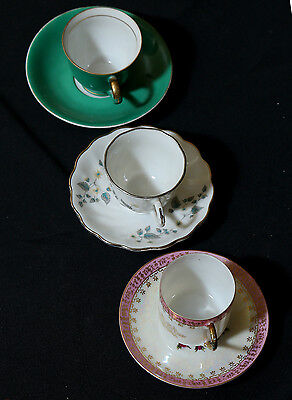 Three Delightful Vintage Porcelain Collectible Cups & Saucers