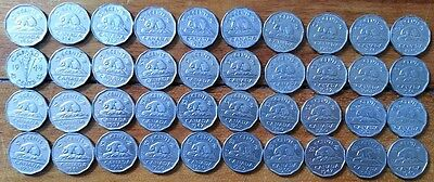 12 Sided CANADA Pure Nickel Roll of 40 Canadian Coins 1945-1962 NO JUNK Nice Mix