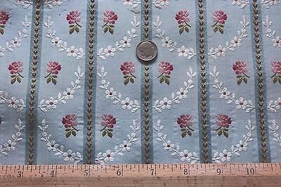 Antique French Silk & Metallic Roses Brocade Fabric Sample c1840-1860~Dolls,Home