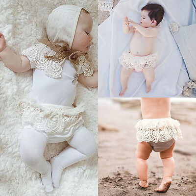 Toddler Baby Girl Ruffle PP Pants Lace Bloomers Diaper Nappy Cover Panties 3-24M