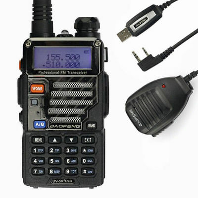 Baofeng UV-5R Plus + Cable + Speaker V/UHF 136-174/400-520MHz Walkie Talkie