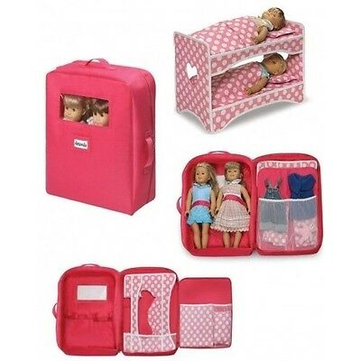 Baby Doll Carrier Storage Double Travel Case Fits American Girl 2 Dolls Birthday