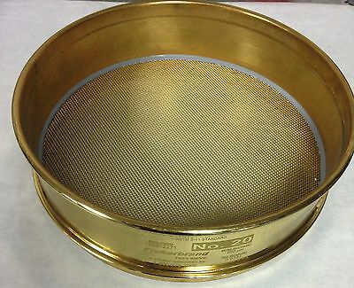 US Standard ASTM E11 No. 20 Testing Sieve Screen WS Tyler 8 Inch Brass
