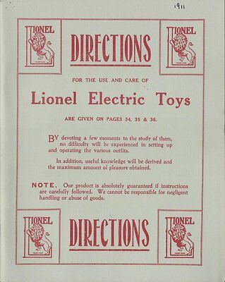 Vintage Reprint of The 1911 Lionel Toy Train Catalog - Great Condition