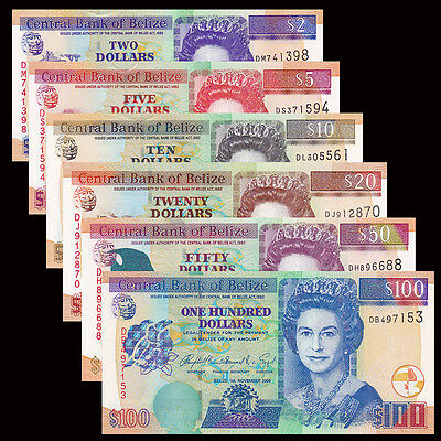 Belize set 6 PCS, 2 5 10 20 50 100 Dollars, 2006-2016, P-66-71, UNC