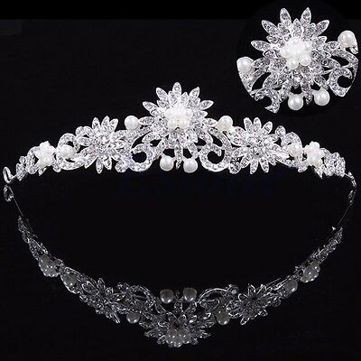 Flower Rhinestone Bridal Tiara Crown with Comb Pin for Wedding Engagement Prom