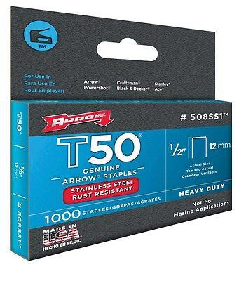 "Arrow Fastener 508SS1 1/2"" T50 Stainless Steel Staples"