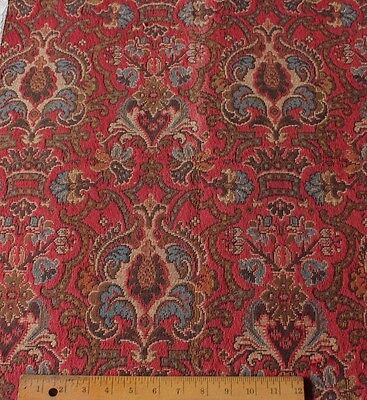 Antique French 19thC Deep Red Woven Heraldic Frame Tapestry Fabric