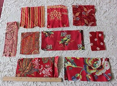 9 French & English Antique Cotton Turkey Red Sample Fabrics c1870-1890~Quilters