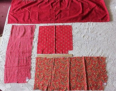 4 French Antique 19thC Print & Solid Cotton Turkey Red Fabrics~Quilters,Dolls