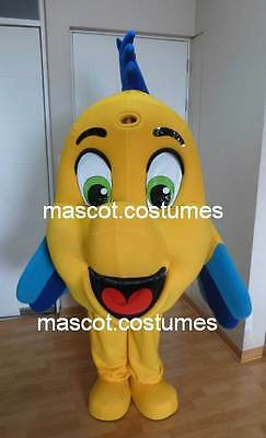new Clownfish Mascot Costume flounder Character mermaid Deluxe fish Sz 5' 9""