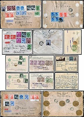 57 old ROMANIA stamps on 3 letter-covers and 6 postcards dated 1920s and 1930s.